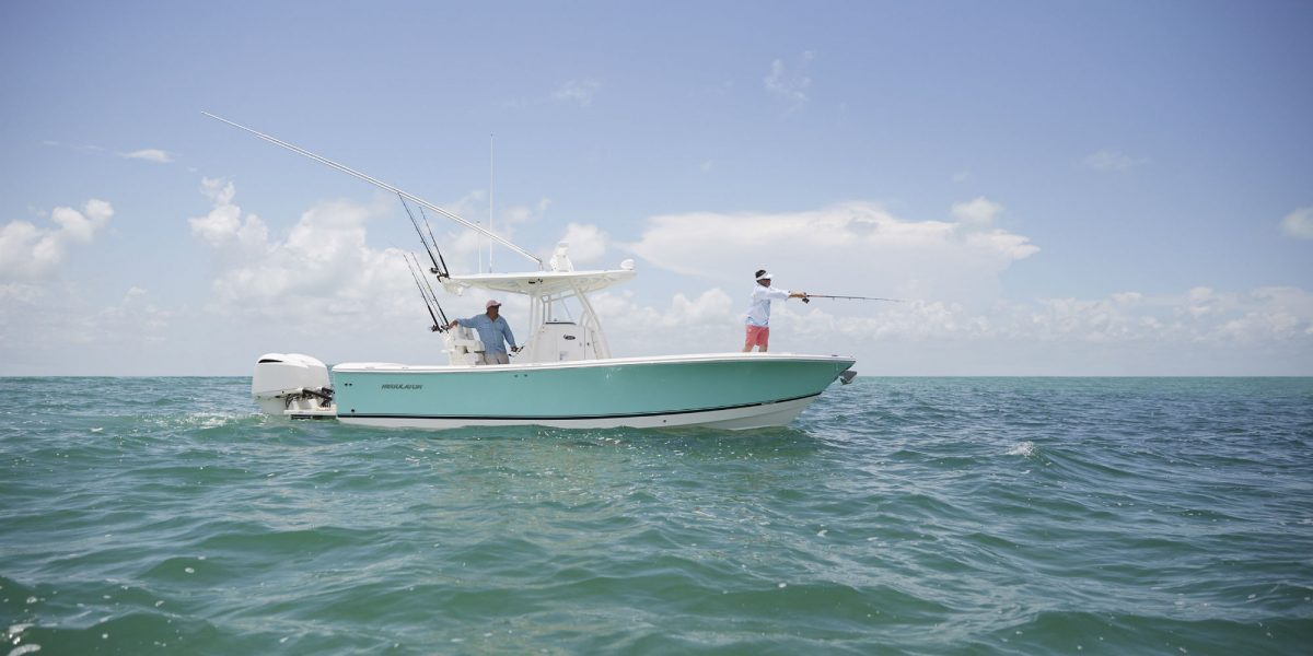 Regulator boat with people fishing, in the Florida Keys